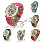 Fashion Women Men Sugar Skull Dial PU Leather Bracelet Quartz Wrist Watch New