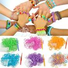 200pcs DIY Glitter Rainbow Refill Rubber Loom Bands with S clips Bracelet Anklet