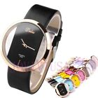 Fashion Women's Girl's Lady's Simply Style Transparent Dial Quartz Watch,PU Band