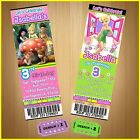 12 Printed Custom TINKERBELL Birthday Tickets Invitations  With Envelopes