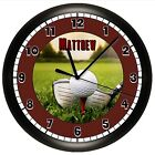 GOLF WALL CLOCK PERSONALIZED GIFT BALL DAD SPORTS TEE GREEN CLUB INSTRUCTOR