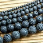 Natural Black Rock Lava Gemstone Round Beads 15'' 4mm 6mm 8mm 10mm 12mm 14mm