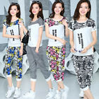 Women's Summer Casual Short Sleeve Tracksuit Sport Running Sweat Suit Tops+Pants