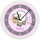 PINK LAMB NURSERY WALL CLOCK SHEEP GRAY BABY'S ROOM PERSONALIZED 10 INCH