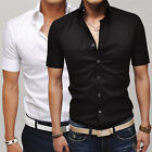 Mens Casual Slim fit Dress Short Sleeve Vogue Solid Shirts Tops Business Formal