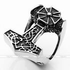 Punk Goth Norse Thunder God Viking Thor's Hammer 316L Stainless Steel Biker Ring