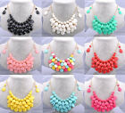 Colorful Bubble Bib Alloy Women's Sweater Clavicle Chain Necklace Earrings Sets