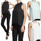 TheMogan Sequined Collar Sleeveless Chiffon Blouse Button Down Tank Top Shirts