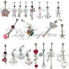 Belly Button Dangle Rings Crystal Rhinestone Jewelry Navel Bar Body Piercing