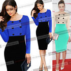 Women Celebrity Colorblock Long Sleeve Tunic Work Party Pencil Sheath Dress 079