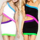 White Cut out Club Party Cocktail Sexy Woman Dress with Neon Trims EDK
