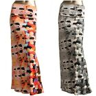 *AZULES* Women's multi color abstract printed  folded waist maxi skirt S,M,L,XL