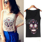 Summer Fashion Women Flower Skull Head Sleeveless Tee T-Shirt Singlet Vest