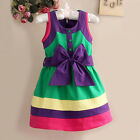 Baby Girls Princess Summer Rainbow Bow Belt Sleeveless Party Kids Dress Holiday