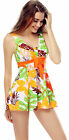 One Piece Padded XLY4019 Orange Floral Swimdress Tankini Attached Swim Bottom
