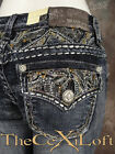 Womens GRACE IN LA Bootcut Jeans Embellished Cut-Outs and Flaps!