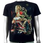 Skull Biker Hot Sexy Bikin Pin Up Tattoo Girl Custom Chopper Mens T-shirt M & L