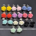 Lovely Sweet Resin 10mm Rose Flower Earring Ear Stud Wedding Party Xmas Gift