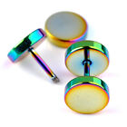 2pc Flat Round Plug Ear Stud Fake Cheater Barbell Rainbow Earrings