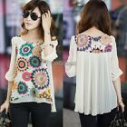 New Womens Short Sleeve Retro Floral Printed Casual Chiffon T-shirt Top Blouse