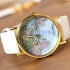 Vintage Women World Map Globe Fashion new Leather Alloy Analog Quartz watches