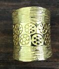 Wide Gold Polished Etched Floral Ridged Brass Ring Band Size 7, 8 or 9