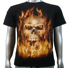 Flaming Vampire Skull Gothic Biker Punk Rock Music Tattoo Tee Mens T-shirt M & L