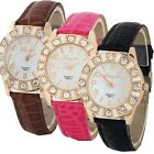 New Arrive Women Dress Rhinestone Fashion Faux Leather Wristwatch Gift for Lover