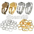 20/60/100 8mm Adjustable Plated Flat Pad Bases Ring Findings Blanks DIY Crafts