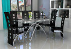 Modern Clear Glass & Chrome 4 or 6 Seat Dining Table & Chairs Set in 3 Colours