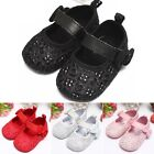 Baby Girl Bow Bling Flash Anti-slip Soft Sole Mary Jane Lace Toddler Crib Shoes
