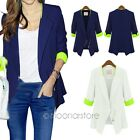 Fashion Womens Casual Career 3/4 Sleeve Slim Suits Blazers Coat Jacket Outerwear