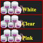 5pcs Clear &Pink& White Acrylic Powder for nail art tips UV Gel Glitter Kit Set