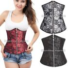 Ladies Sexy Boned Red Black Brocade Underbust corset With Zipper opening Bustier