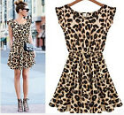 Woman Sleeveless Leopard Dress Fashion Collared Elastic Cocktail Waist Skirt