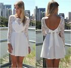 Sexy See Thru Backless Heart Crochet Lace Embroider Bow Skater Prom Club Dress A