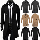Sexy Mens Stylish Fitted Trench Coat Winter Long Jacket Double Breasted Overcoat
