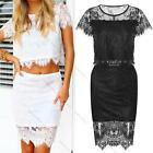 Sexy Lace Crochet Crop 2Piece Set Dress Tops&Skirt Fashion Party Cocktail Dress
