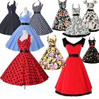 Up-to-date!! Vintage 50s 60s Formal Party Polka Dot Swing Evening Cocktail Dress