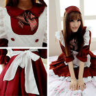 Anime K-ON Girl Sexy Cosplay Lolita French Maid Costume Waiter Uniform Dress Red