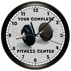 DUMBBELL FITNESS WALL CLOCK DECOR GYM WORKOUT EXERCISE ROOM WEIGHTS LIFTING
