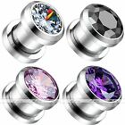 Steel Round Cubic Zirconia Crystal Gem Ear Tunnels Plugs Expander Gauges Earlets