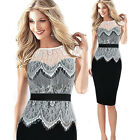 New Women Vintage Lace Tunic Cocktail Party Evening Bodycon Slim Pencil Dress