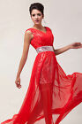 Silver Sequins Empire Line BallGown Evening Prom Party Formal Cocktail Red Dress