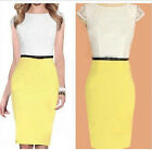 Yellow Womens Colorblock Lace bodycon Work skirt Cocktail Party Pencil Dress