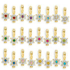 925 Silver 14k Y Gold Dangling Birthstone Flower Cubic Zirconia Drop Earrings