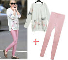 Women Fashion Two Piece Casual Suits Tops and Pants Printed Blouse Slim Trousers