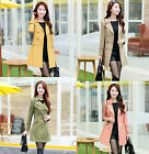 2014 New Women's Long Sleeve Slim Fit Trench Double Breasted Coat Jacket Outwear