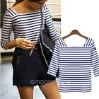 Fashion Women Striped 3/4 Sleeve Tops T-Shirt Blouses Casual Career Square Neck