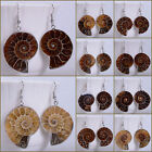 26-35mm Ammonite fossil dangle earrings 0.9-0.4""